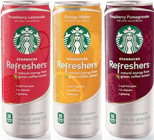"星巴克的这款含果汁和绿咖啡萃取物的混合饮料,名字叫""Starbucks Refreshers""(星巴克清爽饮料),在美国超市出售。"